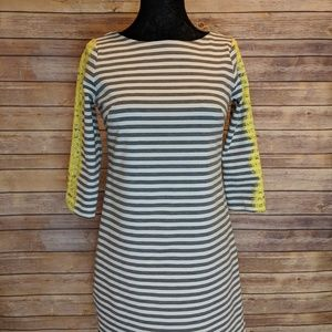 Eliza J Gray and White Striped Dress with Lace - 4